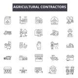 Los contratistas agrícolas alinean iconos Muestras Editable del movimiento Iconos del concepto: contratista, granjero, industria, stock de ilustración