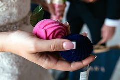 Los controles de la novia dos cajas del anillo se cierran foto de archivo libre de regalías