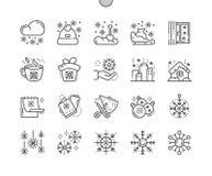 Los copos de nieve Bien-hicieron la línea fina rejilla 2x de los iconos 30 del vector a mano perfecto del pixel para los gráficos Foto de archivo libre de regalías
