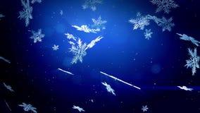 Los copos de nieve decorativos 3d flotan en aire en la cámara lenta en la noche en un fondo azul Uso como Navidad animada, Año Nu almacen de metraje de vídeo