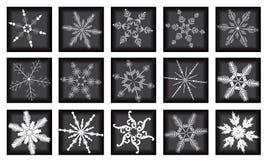 Los copos de nieve grandes fijados en fondo negro Imagen de archivo libre de regalías