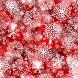 Los copos de nieve modelan en fondo rojo stock de ilustración