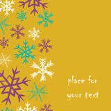 Los copos de nieve rayan en el lado izquierdo con el lugar para su texto Vector el ejemplo del rosa, de la turquesa y de los copo Fotografía de archivo libre de regalías