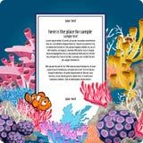 Los corales y el payaso brillantes pescan con la tarjeta vertical para el texto libre illustration