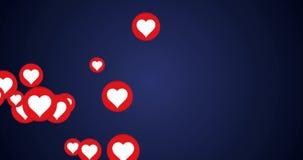 Los corazones abotonan el concepto para el éxito social de la red - animación video rendida 4k en fondo azul stock de ilustración