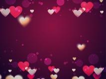 Los corazones adornaron el fondo para el día del ` s de la tarjeta del día de San Valentín Foto de archivo libre de regalías