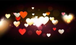 Los corazones adornaron el fondo para el día del ` s de la tarjeta del día de San Valentín Fotos de archivo libres de regalías