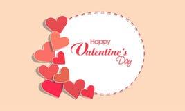 Los corazones adornaron el marco para la celebración del día de tarjeta del día de San Valentín Imagenes de archivo