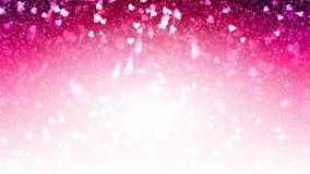 Los corazones blancos aparecen en el fondo brillante rosado Animación del lazo del extracto del día de fiesta del día de tarjetas ilustración del vector