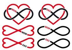 Los corazones con infinito firman para la mamá, papá, sistema del vector Fotos de archivo libres de regalías