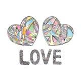 Los corazones dan el fondo exhausto del vector Ejemplo estilizado del amor del extracto Fotografía de archivo