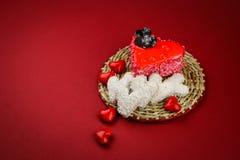 Los corazones de la tarjeta del día de San Valentín dulce Imagenes de archivo