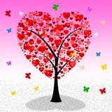 Los corazones del árbol indican el día y el afecto de la tarjeta del día de San Valentín Imagen de archivo libre de regalías