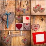 Los corazones del amor de las tarjetas del día de San Valentín del collage del corazón fijaron la madera de papel vieja de la tela Imágenes de archivo libres de regalías
