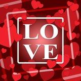 Los corazones del amor representan día y la dedicación de las tarjetas del día de San Valentín ilustración del vector