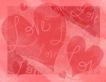 Los corazones del día de tarjeta del día de San Valentín quieren la tarjeta de las escrituras Imagenes de archivo