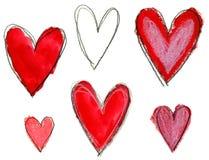 Los corazones del día de tarjetas del día de San Valentín fijaron la mano expresiva dibujada Fotos de archivo libres de regalías