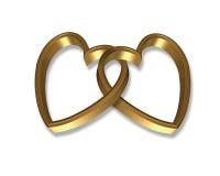 Los corazones del oro conectaron 3D Imagenes de archivo