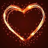 Los corazones dibujados mano hermosos y de la diversión del plasma o del neón que se entrecruzan con diversos efectos luminosos,  Imagen de archivo libre de regalías