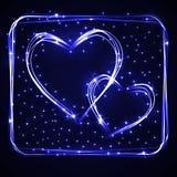 Los corazones dibujados mano hermosos y de la diversión del plasma o del neón que se entrecruzan con diversos efectos luminosos,  Imagen de archivo
