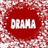 Los corazones enmarcan con el texto del DRAMA en fondo rojo ilustración del vector