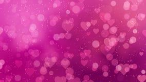Los corazones fucsias aparecen en el fondo brillante Animación del lazo del extracto del día de fiesta del día de tarjetas del dí ilustración del vector