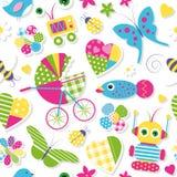 Los corazones lindos del cochecito de bebé florecen el modelo de los juguetes y de los animales ilustración del vector