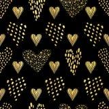 Los corazones negros de lujo del amor del oro asperjan el modelo de la textura, vector inconsútil stock de ilustración