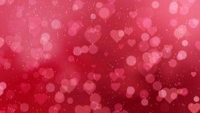 Los corazones rojos aparecen en el fondo brillante Animación del lazo del extracto del día de fiesta del día de tarjetas del día  stock de ilustración