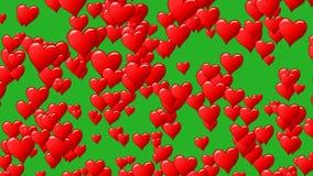 Los corazones rojos como el globo se alzan hasta el cielo azul con las nubes Mosca de corazones Lazo inconsútil Canal alfa transp stock de ilustración