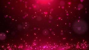 Los corazones rojos del amor chispean fondo del movimiento de la partícula del brillo con el bokeh, tarjeta del día de San Valent ilustración del vector