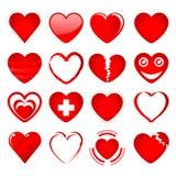 Los corazones rojos fijaron 1 Foto de archivo