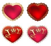 Los corazones rojos soportan en un marco del oro con el ornamento y una declaración del amor Fotos de archivo libres de regalías