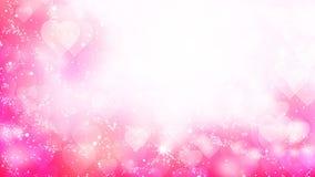 Los corazones rosados aparecen en el fondo brillante Animación del lazo del extracto del día de fiesta del día de tarjetas del dí