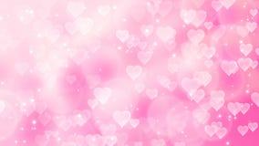 Los corazones rosados aparecen en el fondo brillante Animación del lazo del extracto del día de fiesta del día de tarjetas del dí ilustración del vector