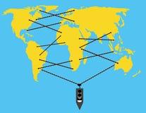 Los cordones de la nave conectan continentes Imagen de archivo libre de regalías