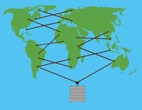 Los cordones del cargo conectan continentes Foto de archivo