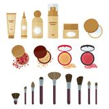 Los cosméticos componen el sistema ilustración del vector