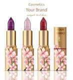 Los cosméticos del lápiz labial fijaron mofa realista encima del vector Decoración del ornamento floral, diseño original de empaq Fotos de archivo libres de regalías
