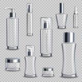 Los cosméticos empaquetan el sistema transparente realista stock de ilustración