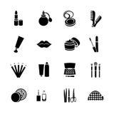 Los cosméticos vector iconos planos determinados del web Blanco y negro con los productos cosméticos Imagenes de archivo
