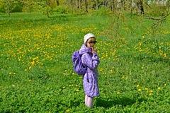 Los costes de siete años de la muchacha entre los dientes de león florecientes en el parque Primavera fotos de archivo