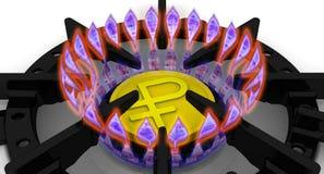 Los costes de suministro de gas El concepto con la moneda rusa Foto de archivo libre de regalías