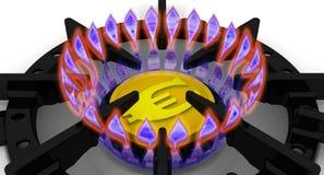 Los costes de suministro de gas El concepto con moneda europea Foto de archivo