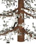 Los costes del robot debajo de un árbol monetario Imágenes de archivo libres de regalías