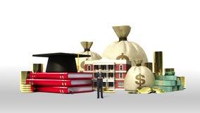 Los costos de educación descendentes prestan la muestra, escuela, collage, edificio del campus universitario con el dinero, cuent ilustración del vector