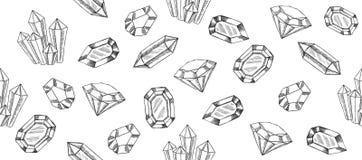 Los cristales geométricos modelan con y los minerales ilustración del vector