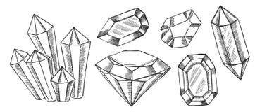 Los cristales geométricos modelan con y los minerales stock de ilustración