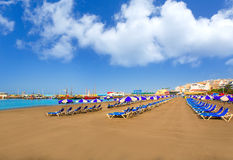 Los Cristianos海滩在阿罗纳南的特内里费岛 图库摄影