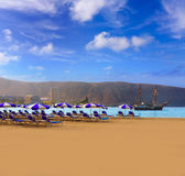 Los Cristianos beach in Arona Tenerife south Royalty Free Stock Image